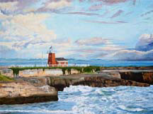 """Lighthouse, Santa Cruz"", an oil painting by artist Jessica Maring"